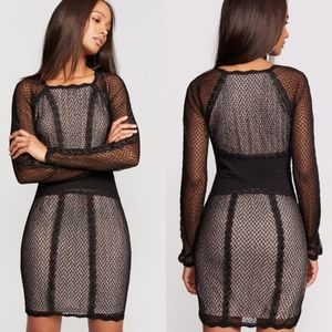 (FREE PEOPLE) Mixed Mesh Bodycon Dress